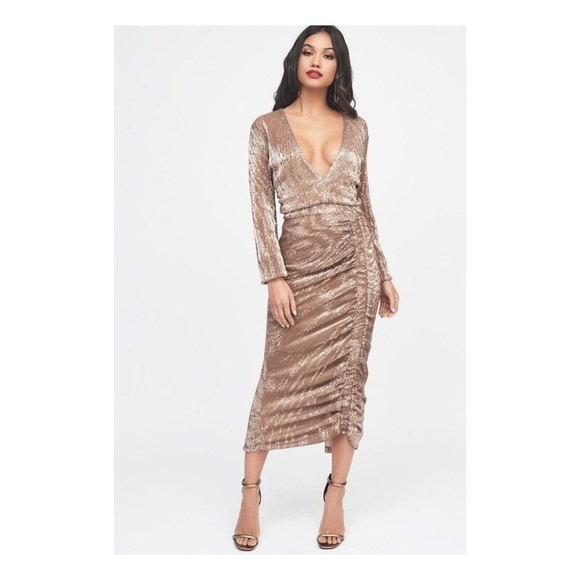 a79f980452f PLEATED SEQUIN RUCHED SIDE MIDI DRESS